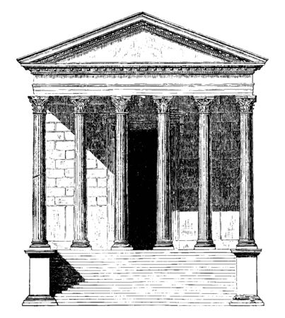 Maison Carrée, at Nîmes in southern France, the best preserved temples,  the original patron of the Pantheon in Rome, vintage line drawing or engraving illustration. Ilustrace
