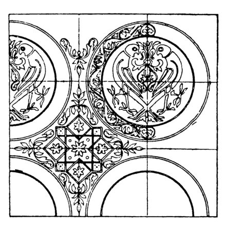 Textile Pattern is a 12th century design made of silk and gold, It is found in a tomb in the Abbey of St. Germain des pres in Paris, vintage line drawing or engraving illustration.