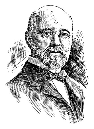 Ira Remsen, he was an American chemist and educator, vintage line drawing or engraving illustration Illustration