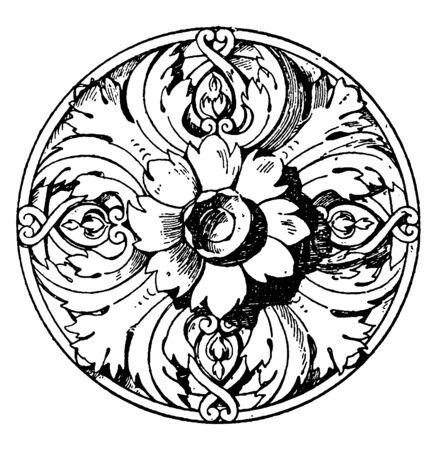 Modern French Rosette is a ceiling flower made of stucco, vintage line drawing or engraving illustration.