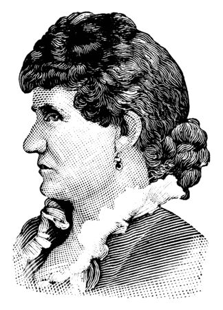 Mrs. Carlisle, she supported womens suffragists, vintage line drawing or engraving illustration