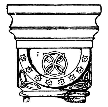 Romanesque Cushion Capital,  found in the Abbey church in Germany,  a design of a half sphere,  Romanesque Architecture, vintage line drawing or engraving illustration.