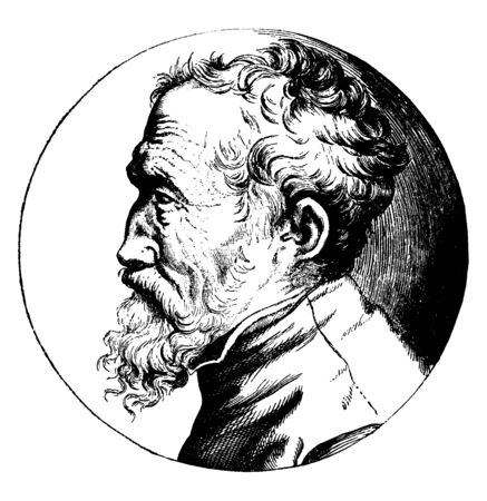 Michelangelo Profile Portrait, 1475-1564, he was an Italian sculptor, painter, architect, and poet of the high Renaissance, vintage line drawing or engraving illustration  イラスト・ベクター素材
