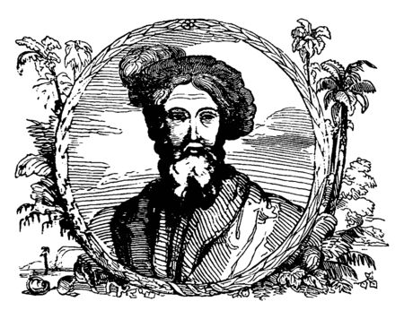 Christopher Columbus, 1451-1506, he was an Italian explorer, navigator, first governor of the Indies, and colonizer who discovered route to the Americas while in search of the Indies, vintage line drawing or engraving illustration Archivio Fotografico - 133482528