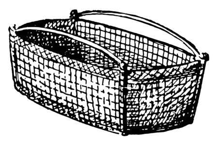 Basket, A woven basket, made from a range of materials, including wood splints, runners, and cane, Baskets are generally woven by hand, vintage line drawing or engraving illustration.