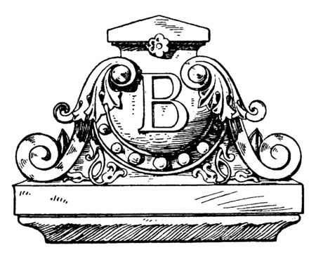 Modern French Akroter was designed by Architect Renaud, Gable, Modern, ornamental, renaud, Terracotta, vintage line drawing or engraving illustration.