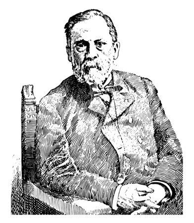 Louis Pasteur, 1822-1895, he was a French biologist, microbiologist and chemist, vintage line drawing or engraving illustration Ilustração Vetorial