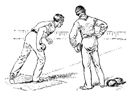 Two bowlers are looking at kitty before throwing ball on grassy lawn, vintage line drawing or engraving illustration.