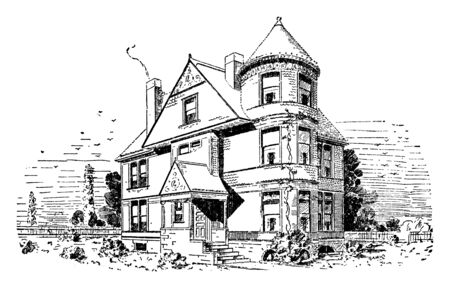 The Asbury,  typical, round tower associated with this style, fun interactive and engaging, the end of the gabled roof, vintage line drawing or engraving illustration.