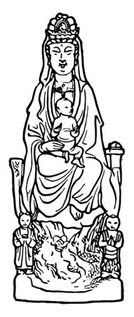 Kuan Yin the Goddess of compassion. Of all the goddesses, she is most revered and beloved throughout the world, vintage line drawing or engraving illustration. Ilustrace