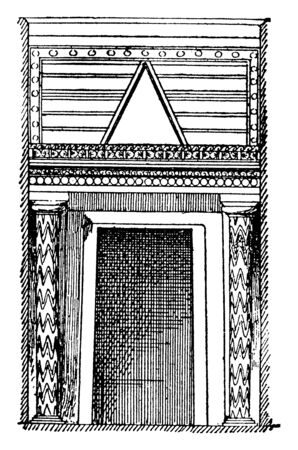 Treasury of Atreus Doorway, The Treasury of Atreus, Tomb of Agamemnon, unknown period of time, vintage line drawing or engraving illustration.