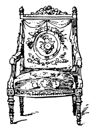 Louis XVI Arm chair made from carved wood has center seat and backrest covered in upholstery with glided armrest, vintage line drawing or engraving illustration