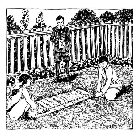 Measuring Garden or measuring tape,  school  outside,  group work, inches, math problems, students working,  vintage line drawing or engraving illustration. Ilustrace