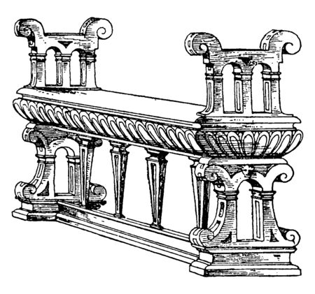 Renaissance Bench with beautifully crafted arm rest and pillars holding the seat, vintage line drawing or engraving illustration
