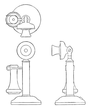 This illustration represents Orthographic Projection of Candlestick Telephone, vintage line drawing or engraving illustration.