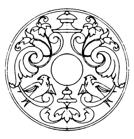 Decoration of Escutcheons Strap-Work Frame was used as snuff-box lids, vintage line drawing or engraving illustration.