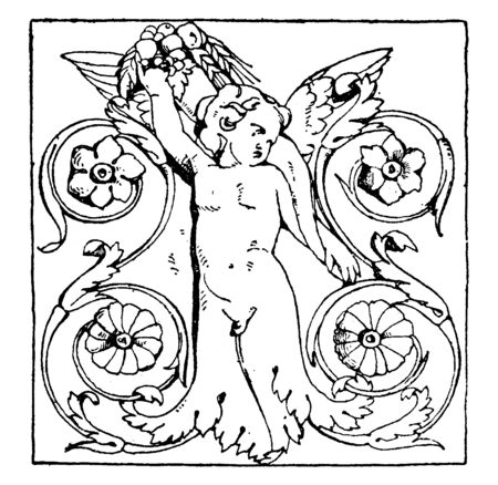 Dancing Half-Figure Panels come from an altar, vintage line drawing or engraving illustration.