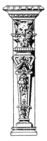 Mask Terminus is a modern design that is found on a chimney, faces used as a decorative motif, northern façade, vintage line drawing or engraving illustration.