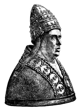 Alexander VI, 1431-1503, he was a pope of Renaissance from 1492 to 1503, vintage line drawing or engraving illustration Ilustracja