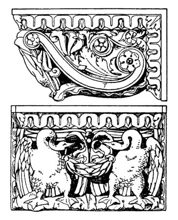 Roman Console includes two decorative swans, size and striking, four hands discover, vintage line drawing or engraving illustration. Archivio Fotografico - 132980666