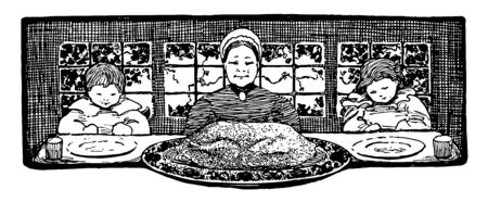 In this image mother has cooked the turkey and served it on the dining table. The mother and her children are all set to enjoy turkey in the dinner, vintage line drawing or engraving illustration. 일러스트