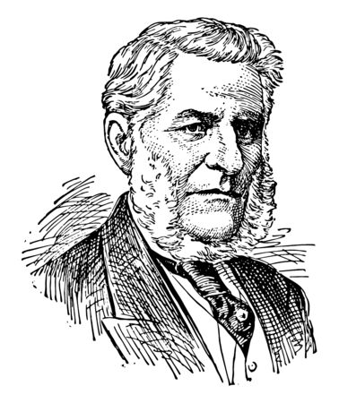 Sir Francis Hincks, 1807-1885, he was a Canadian politician and British governor of Barbados from 1856 to 1862, vintage line drawing or engraving illustration