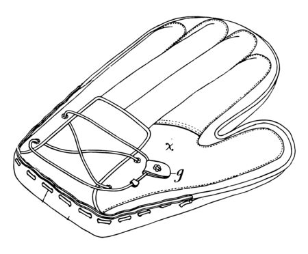 It looks like the hand glove of a boxer, vintage line drawing or engraving illustration.