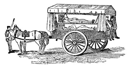 Old Ambulance used in 19th century in case of emergency, vintage line drawing or engraving illustration. Çizim