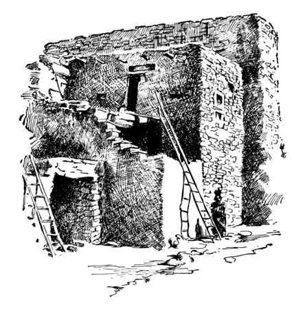 An old damage house showing old ladders used to climb up, vintage line drawing or engraving illustration.