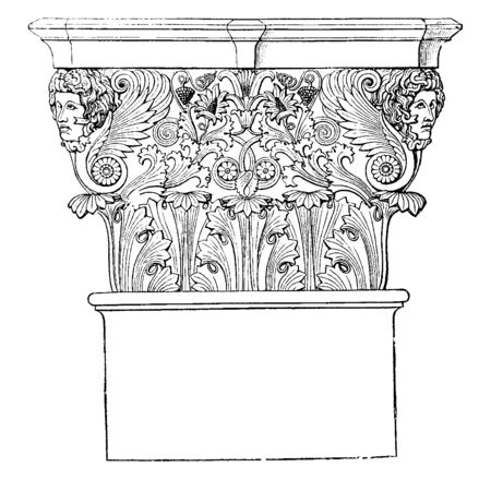 Corinthian Capital, faces, greek architecture, pillar top, support, vintage line drawing or engraving illustration.