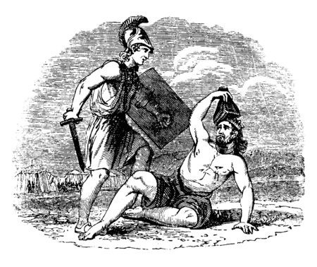 In this picture a soldier with a sword and shield in his hand and he is killing a man, vintage line drawing or engraving illustration.