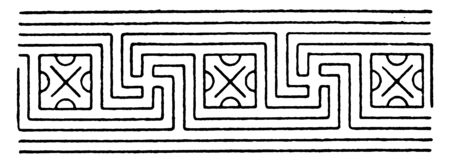 Ordinary Intersecting Fret Band is a pattern that crosses each other, its found on Greek vase paintings, vintage line drawing or engraving.