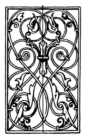 Wrought-Iron Oblong Panel is German Renaissance design, it is found in Prague, vintage line drawing or engraving illustration.