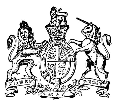Great Britain Coat of Arms have lion and unicorn, vintage line drawing or engraving illustration.