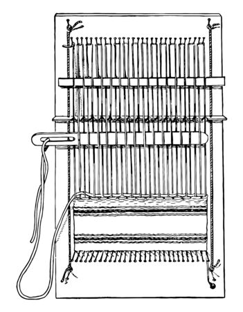 Complete pin loom, the pins holding the thread to the loom and the top and bottom, vintage line drawing or engraving illustration.