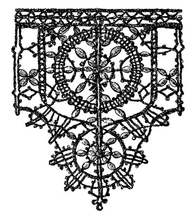 Point Noue Lace Border is a 15th century design, It is a pattern that is produced by plaiting and knotting the threads, vintage line drawing or engraving illustration.