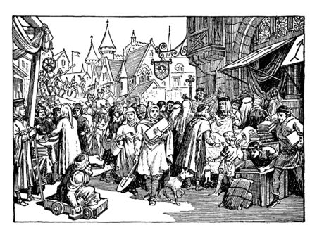 A bustling street fair in France during the 13th century. Numerous people crowd the streets, selling and buying various wares. In the foreground, a crippled man on a cart begs passer-by, vintage line drawing or engraving illustration.