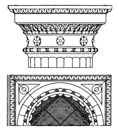 Roman-Doric Capital, an antique design,  found on the upper termination of a column, vintage line drawing or engraving illustration.