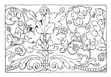 Renaissance Ornament Vine is a frieze design, its found in Venice in the 16th century, vintage line drawing or engraving illustration. Illustration
