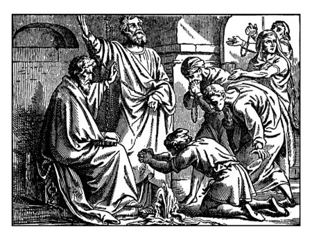 Saint Paul and Saint Peter seen bounded in chains inside the prison. Fountain seems to be erupted when Peter prays and five prisoners are able to be baptized in the fountain, vintage line drawing or e