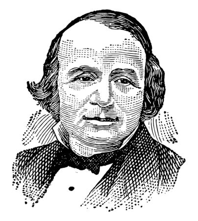 Louis Agassiz, 1803-1873, he was Swiss-American biologist and geologist, famous for his study of glaciers, vintage line drawing or engraving illustration Illustration