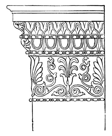 Ionic Antae Capital from the Temple of Minerva Polias at Athens,  flutings, base, round, walls, plinth, vintage line drawing or engraving illustration.