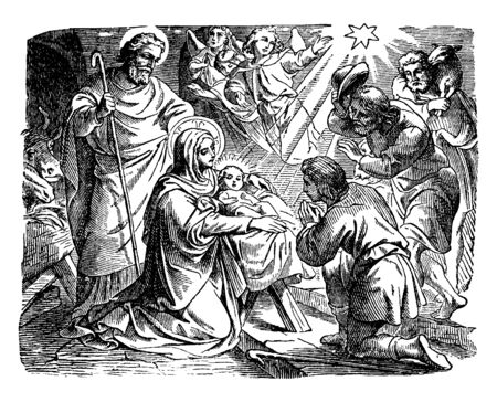 The shepherds are arriving soon after Jesus birth. One kneels, one bow and one stands in the background with a sheep over his shoulders. Angels are depicted overhead, along with the Star of Bethlehem, vintage line drawing or engraving illustration. Ilustracja