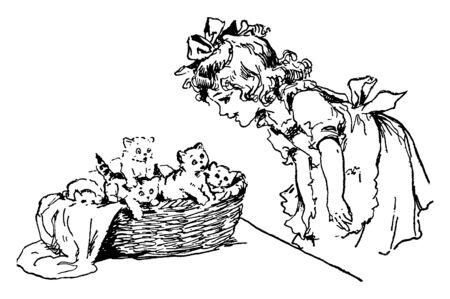 Une jeune fille se penche pour admirer un panier rempli de chatons, un dessin au trait vintage ou une illustration de gravure. Vecteurs