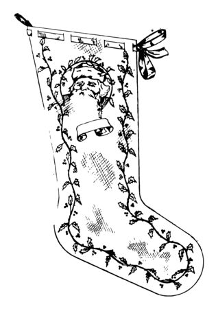 This is a close-fitting, usually knitted covering for the foot and leg made from nylon, silk, cotton, wool, and similar yarns, vintage line drawing or engraving illustration. Illustration