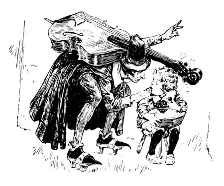 Fiddler and Jack Horner, a man with musical instrument talking to little boy who is sitting on small table, vintage line drawing or engraving illustration Vettoriali