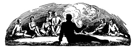 Some peoples are sitting around the fire, vintage line drawing or engraving illustration. Ilustração