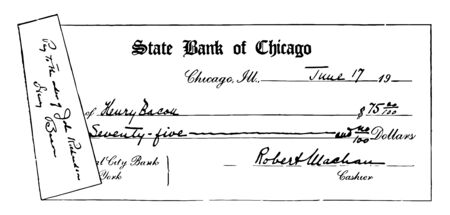 This illustration represents Bank Draft which is a check drawn by a bank and signed by at cashier, vintage line drawing or engraving illustration. Ilustracja