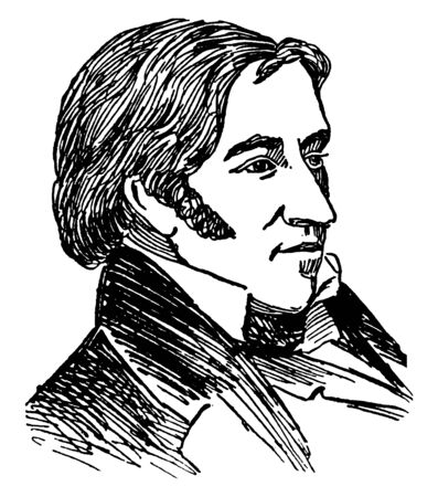 David Crockett, 1786-1836, he was a 19th-century American folk hero, frontiersman, soldier, and politician, vintage line drawing or engraving illustration