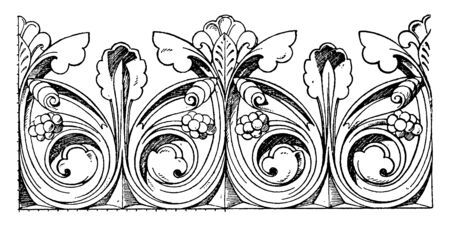 Gothic Cresting Border is found on the ridge or the top of a roof, vintage line drawing or engraving illustration.